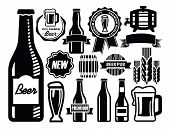 picture of brew  - vector black beer icon set on white - JPG
