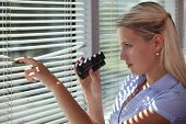 image of private investigator  - Nosy woman peering through some blinds - JPG