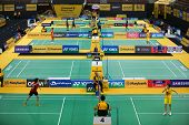 KUALA LUMPUR - JANUARY 15: Badminton players from all over the world compete at the WBF Super Series