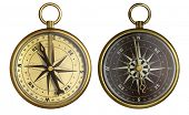 Old compass collection. Two aged brass antique nautical pocket compass isolated on white.