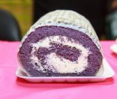 stock photo of ube  - ube macapuno cake - JPG