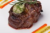 image of chateaubriand  - Closeup of a gourmet dinner plate with a steak - JPG