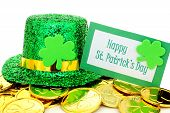 picture of leprechaun hat  - Happy St Patricks Day tag with party hat and gold coins over white - JPG