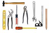 stock photo of peen  - An assortment of full resolution carpentry tools isolated on white - JPG