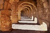 image of aqueduct  - Galery at Aspendos in Antalya Turkey  - JPG