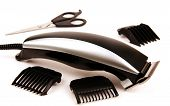 stock photo of clippers  - electric clippers scissors hairdressing tips photo on light background - JPG