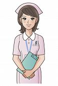foto of clip-art staff  - Young cute nurse with clipboard smiling putting the hands together - JPG