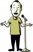 stock photo of joker  - A cartoon comedian performs with a microphone - JPG