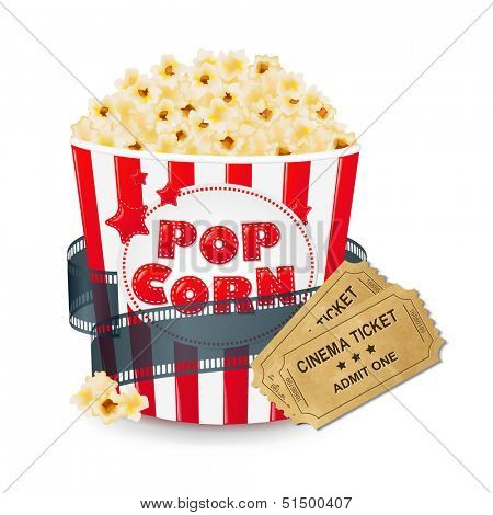 Popcorn In Cardboard Box With Ticket Cinema With Gradient Mesh, Vector Illustration