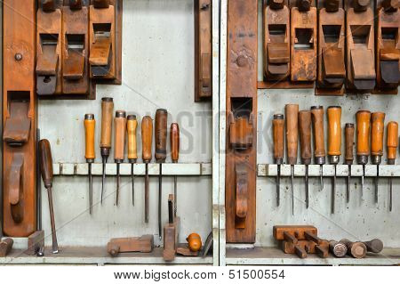 A carpenter tools in a tool cabinet
