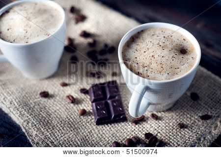 Delicious Cup Of Cappuccino With Cinnamon And Chocolate