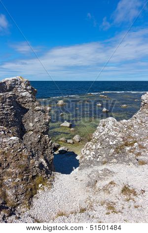 Cliffs On The Coastline Of Gotland, Sweden