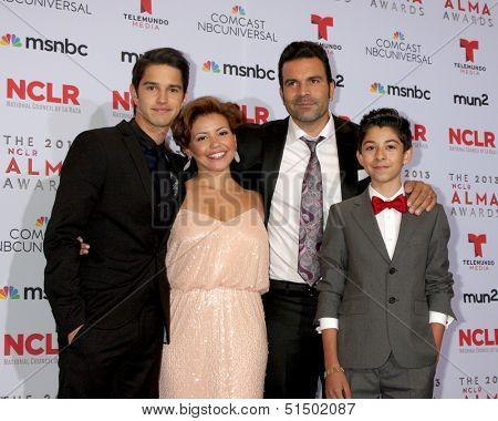 LOS ANGELES - SEP 27:  Joseph Haro, Justina Machado, Ricardo A. Chavira, Fabrizio Guido at the 2013 ALMA Awards - Press Room at Pasadena Civic Auditorium on September 27, 2013 in Pasadena, CA