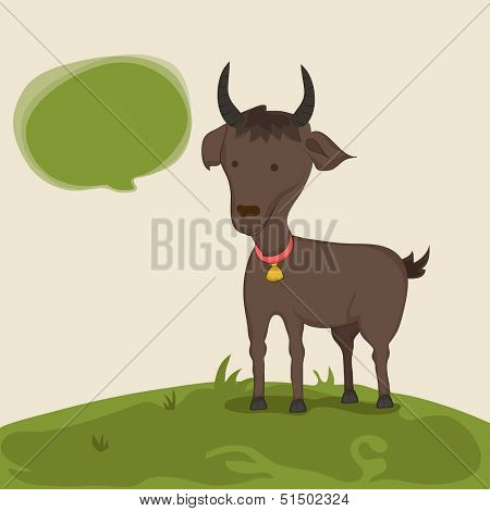 Muslim community festival of sacrifice Eid Ul Adha greeting card or background with goat on abstract background.