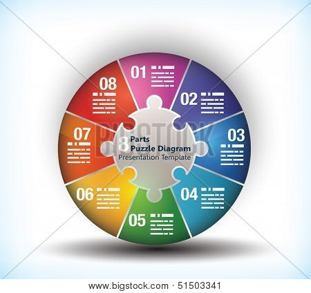 8 sided business wheel chart with place for text and connection between them