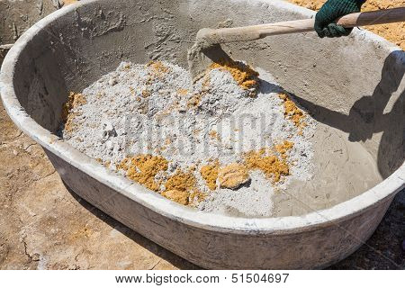 Mixing Concrete In Tub