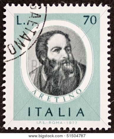 ITALY - CIRCA 1977: a stamp printed in Italy shows image of Pietro Aretino (1760 - 1842), famous Italian composer. Italy, circa 1977