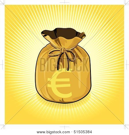 Euro Dollar Gold Bag of Money Save for Success