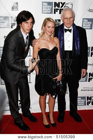 "NEW YORK-SEP 27: (l-r) Actors Adam Drive, Naomi Watts and Charles Grodin are seen filming ""While We're Young"" September 27, 2013 in New York City."
