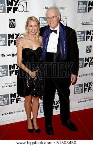 """NEW YORK-SEP 27: Actor Charles Grodin and Naomi Watts are seen filming """"While We're Young"""" September 27, 2013 in New York City."""