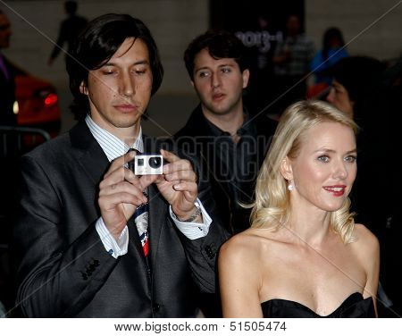 NEW YORK-SEP 27: (l-r) Actors Adam Drive and Naomi Watts are seen filming
