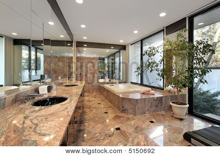 Master Bath With Marble Floors