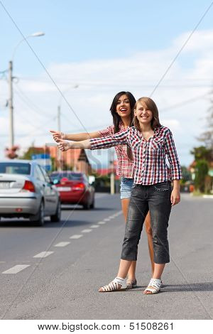 Girls Hitch-hiking