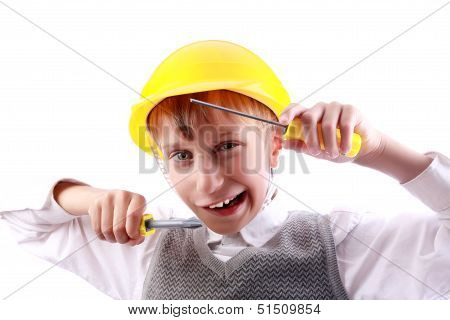 Beautiful funny blond boy as a construction worker wearing a yellow hardhat and colorful tools