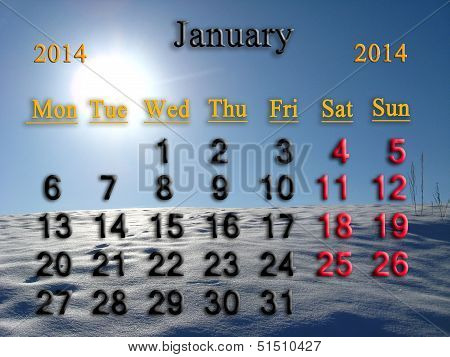 calendar for the January of 2014