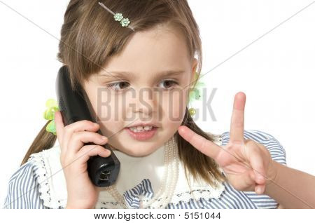 Little Girl With Phone