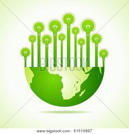 Illustration of Bulbs on half earth
