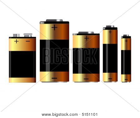 Set Of Batteries In Standard Sizes