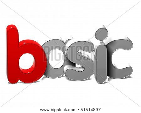 3D Word Basic On White Background