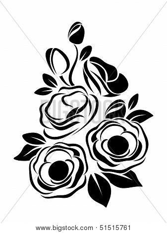 Black silhouette of anemone flowers. Vector illustration.