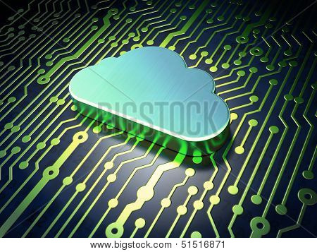 Networking concept: Cloud on circuit board