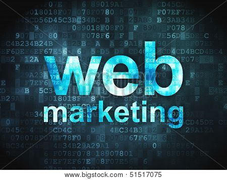 SEO web design concept: Web Marketing on digital background
