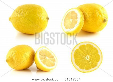 Fresh lemon set, isolated on white background.