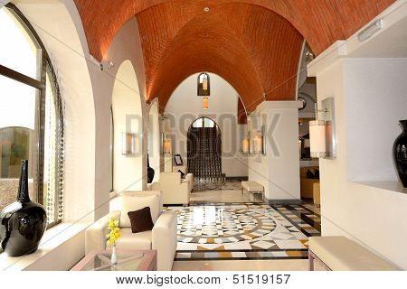 Lobby Interior Of The Luxury Hotel, Ras Al Khaimah, Uae