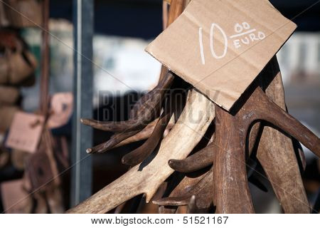 Reindeer's Antlers As A Souvenir With Price On The Counter