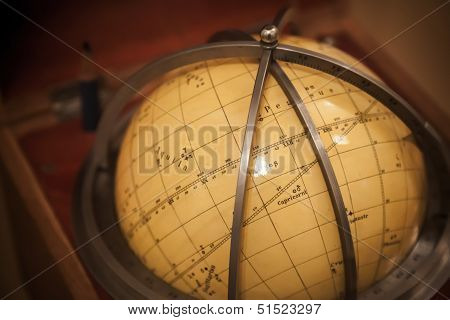 Ancient Travel Star Sky Globe In Wooden Box