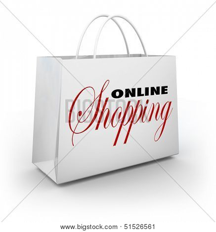 The words Online Shopping on a white shopping bag to illustrate buying goods and services on websites or web based stores