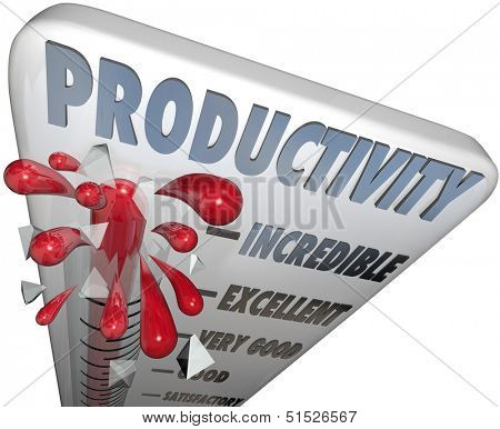 The word Productivity on a thermometer measuring your level of production, efficiency, output and capacity to produce goods and services and grow your business