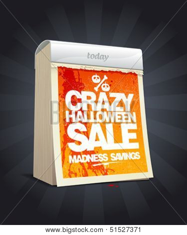 Crazy halloween sale design in form of tear-off calendar. Eps10