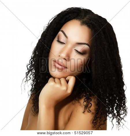 Young mulatto fresh woman with beautiful makeup, isolated on white