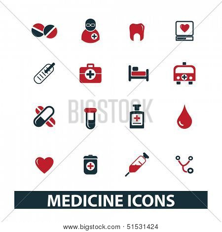 medicine, health care, hospital icons set, vector