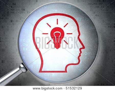 Education concept:  Head Whis Lightbulb with optical glass