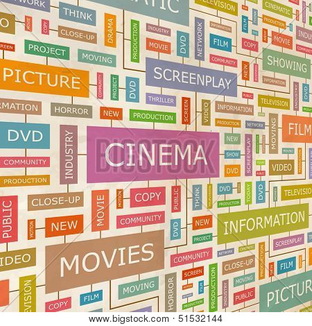 CINEMA. Concept vector illustration. Word cloud with related tags and terms. Graphic tag collection. Wordcloud collage.