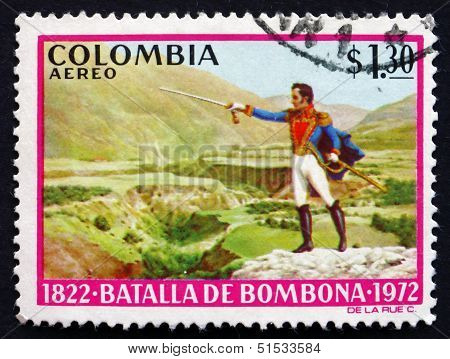Postage Stamp Colombia 1973 Simon Bolivar, Battle Of Bombona