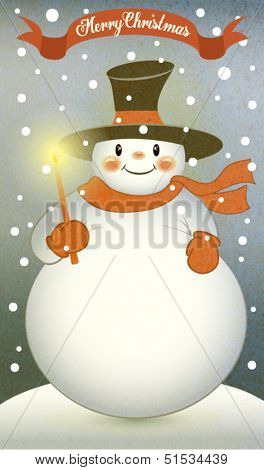 Snowman with Christmas Candle - Retro-style illustration of a cute fat snowman, with top hat, wool shawl and gloves, holding Christmas candle on a snowy winter day