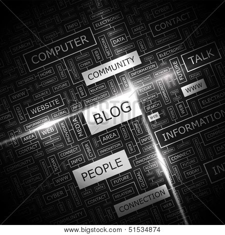BLOG. Background concept wordcloud illustration. Print concept word cloud. Graphic collage with related tags and terms. Vector illustration.